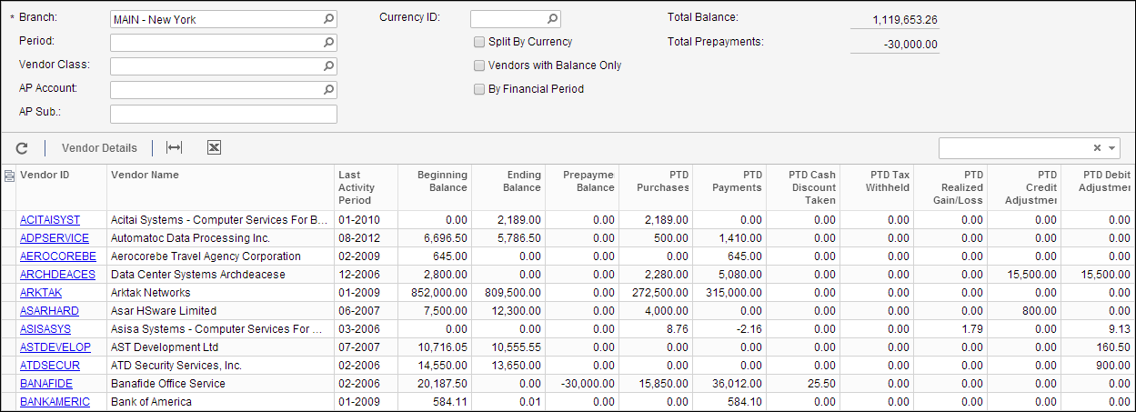 Vendor Summary (AP401000) Inquiry Screen