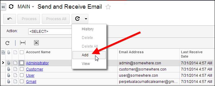 Schedule Acumatica Email Send/Receive