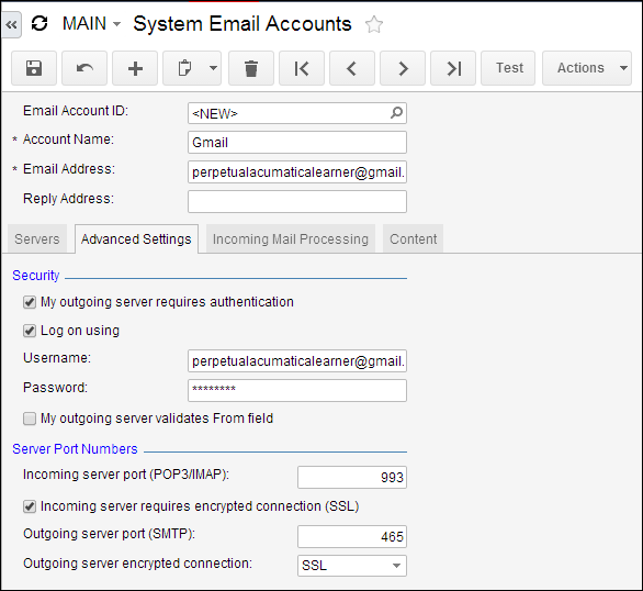 Setting Up Acumatica Email With Gmail