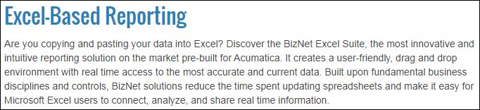 Acumatica Excel-Based Reporting Using BizNet