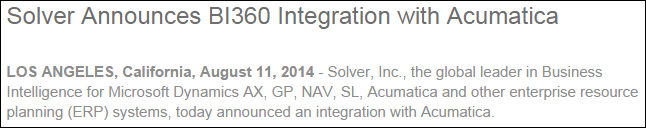 Solver Announces BI360 Integration with Acumatica