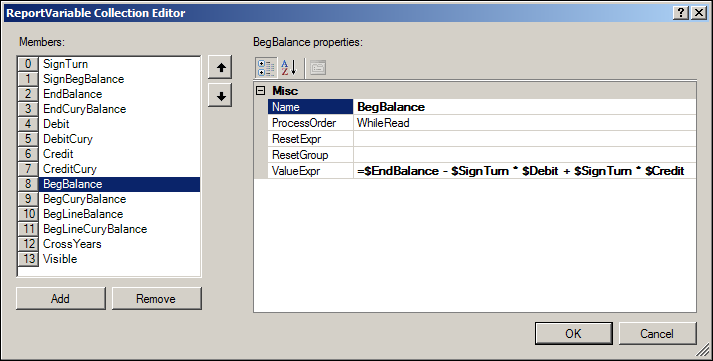 Acumatica Transactions for Period Report Variables
