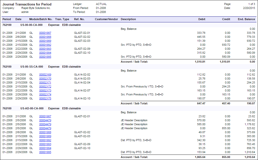 Acumatica Report Review: Transactions for Period