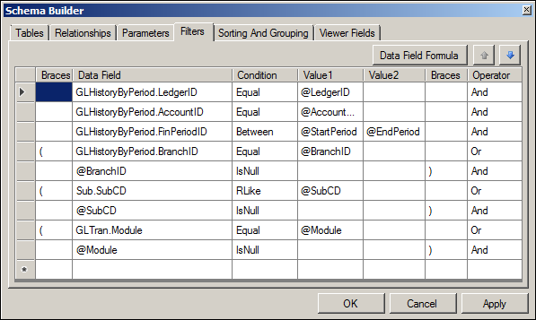 Acumatica Transactions for Account Report Schema Builder