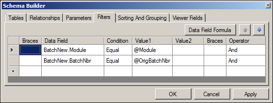 Acumatica GL Reversing Batches Report Schema Builder