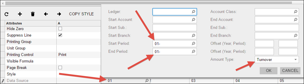 Acumatica Financial Report with Dynamic Number of Columns