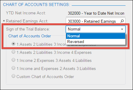 Sign of the Trial Balance option in the General Ledger Preferences (GL102000) screen