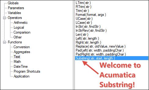 Acumatica Substring Function