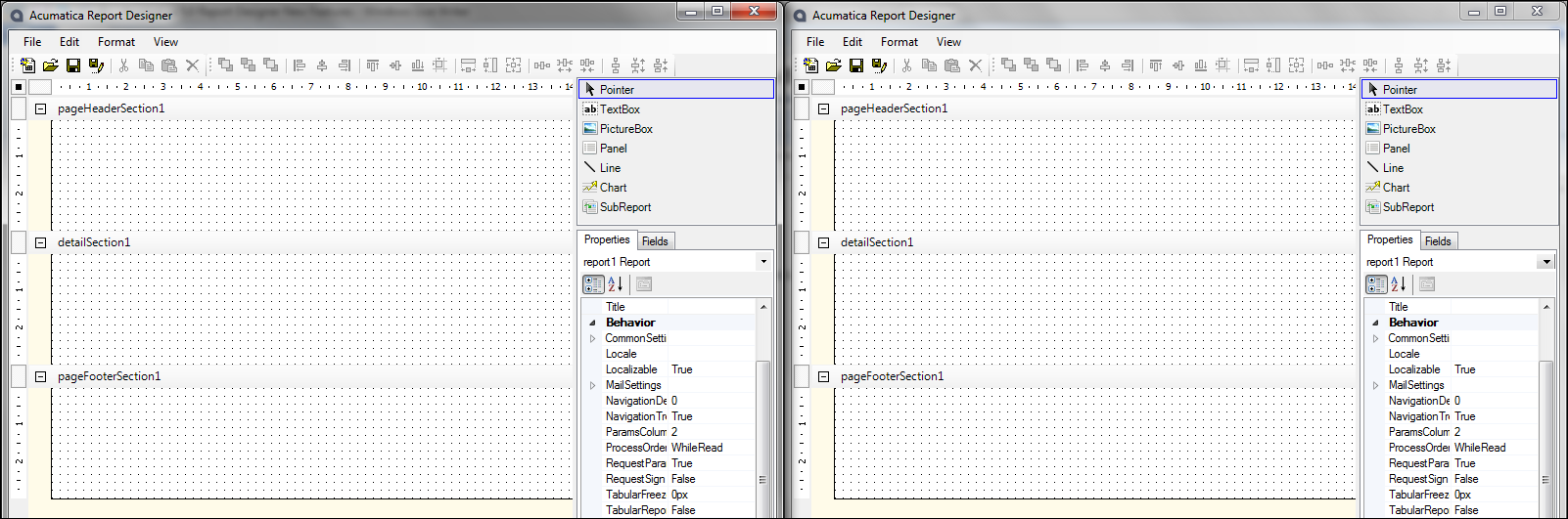 Acumatica Report Designer 4.2 vs 5.0