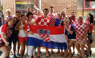 Croatia fans happy to beat Denmark in exciting shootout.
