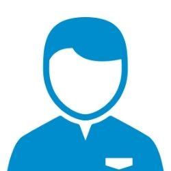 An abstract blue icon representing a customer service representative