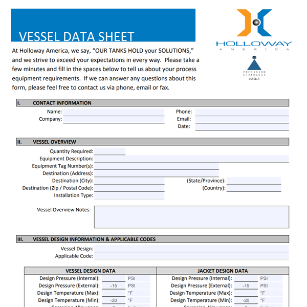 A downloadable RFQ form for vessels
