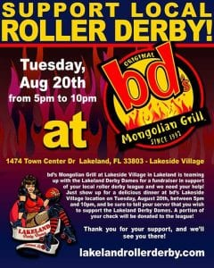 Support Local Roller Derby at bd's Mongolian Grill