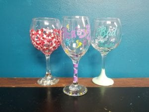 Wine Glass Painting, PicassoZ art cafe, Lakeland, Ladies Night Out