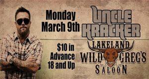 Uncle Kracker, Lakeland, Wild Greg's Saloon, +18 event