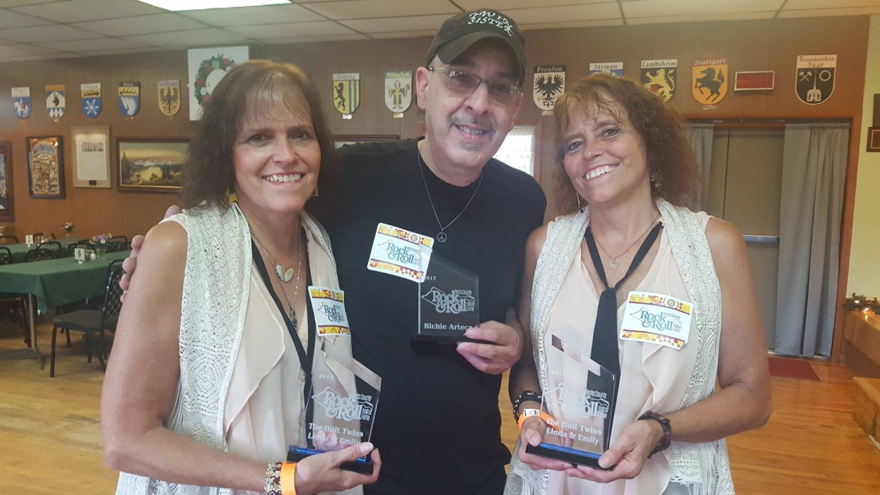 Untitled 01-13-2018 - Pix of us with our lead guitarist, Rich Arteca, holding our trophies for being inducted into the Berks County Rock N' Roll Hall of Fame last year at The Magical History Tour