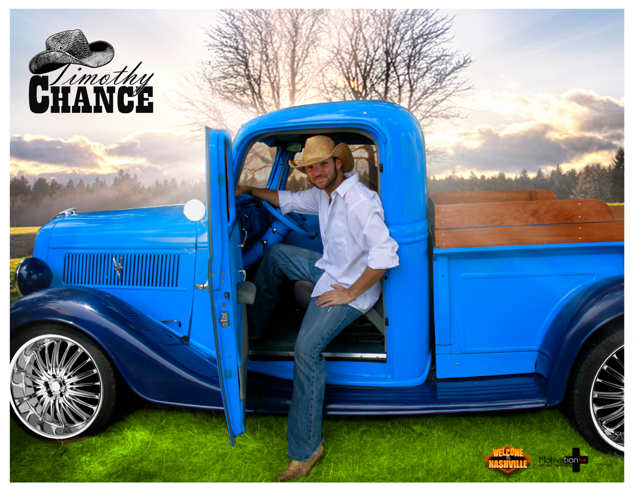 """Timothy Chance & Blue Truck On Chrome (Promo Pic - Watch Timothy Chance Band's """"PAULINE"""" Music Video on AMC Today!  CLICK LINK HERE: https://americanmusicchannel.com/…/videos/user/timothychance"""