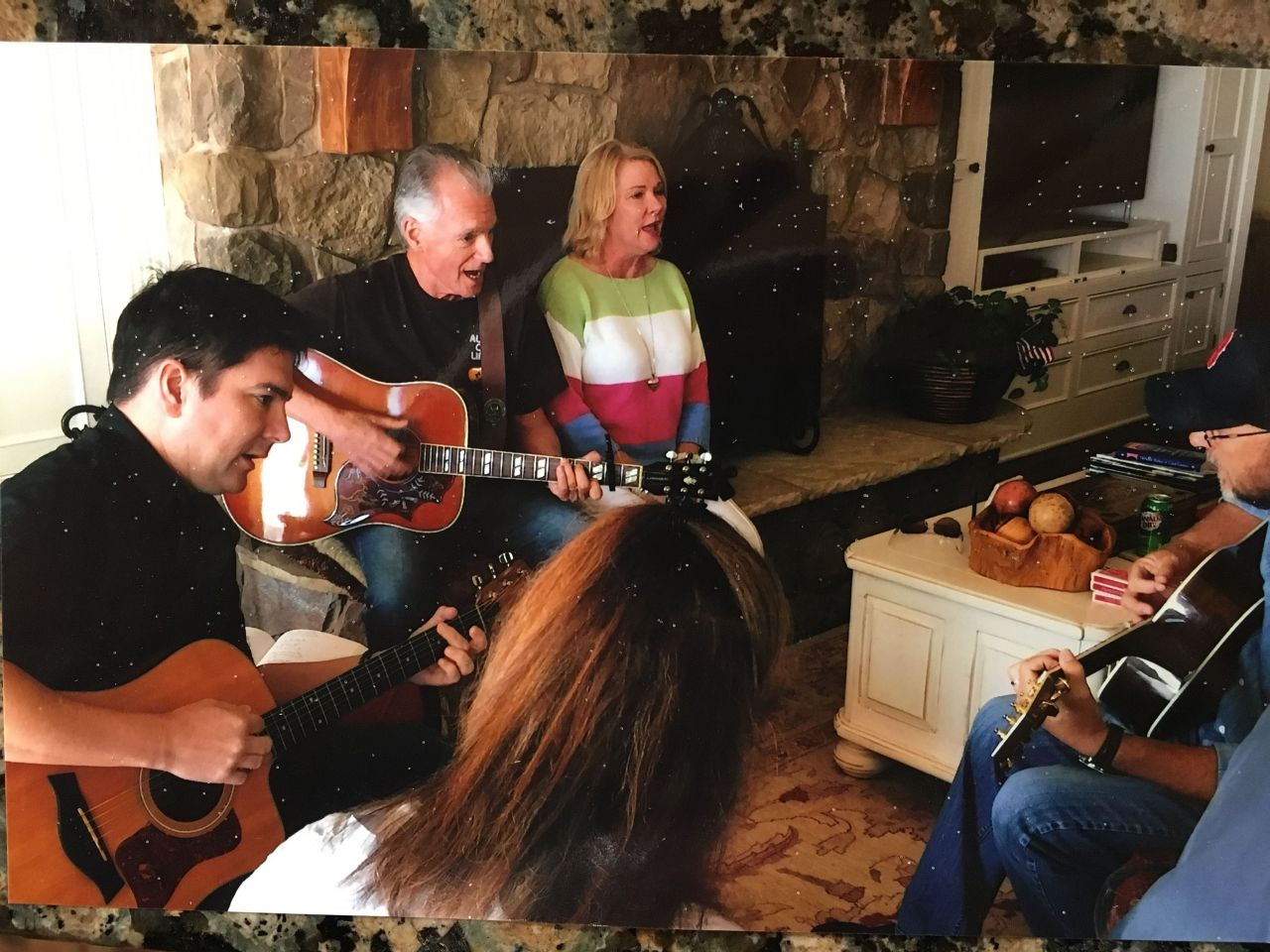 Family Living Room Concert at Ventura Beach House  - This is the pure essence of making music. Family and Friends in a music circle by the fireplace. Sigh, what joy!  GuitarMusicLive.com