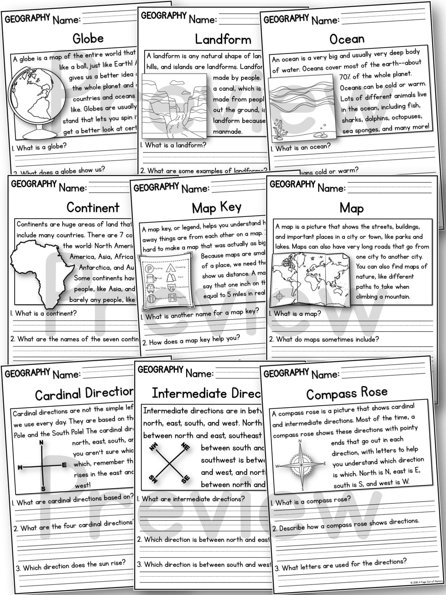 - K-2 Social Studies Reading Comprehension Passages Bundle - A Page