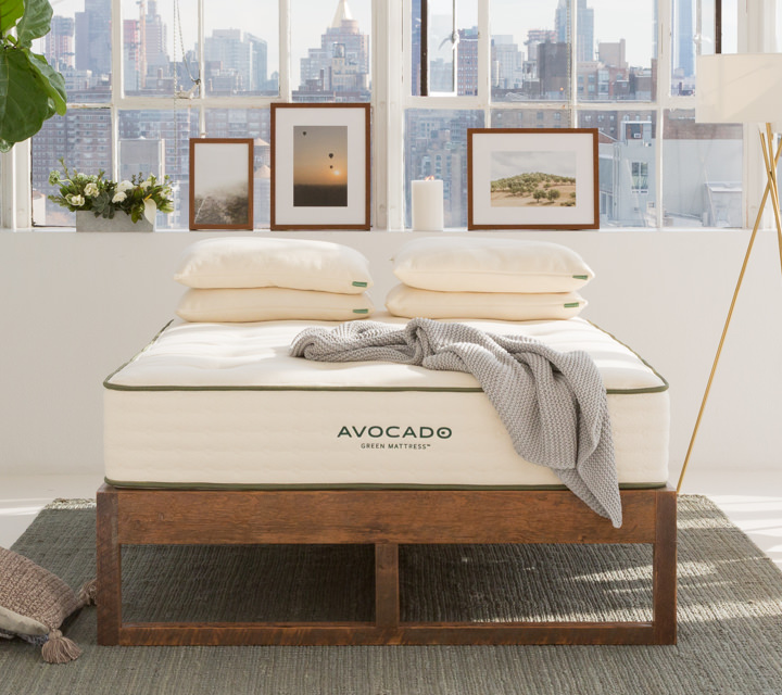 Reclaimed Eco Wood Bed Frame Avocado Green Mattress