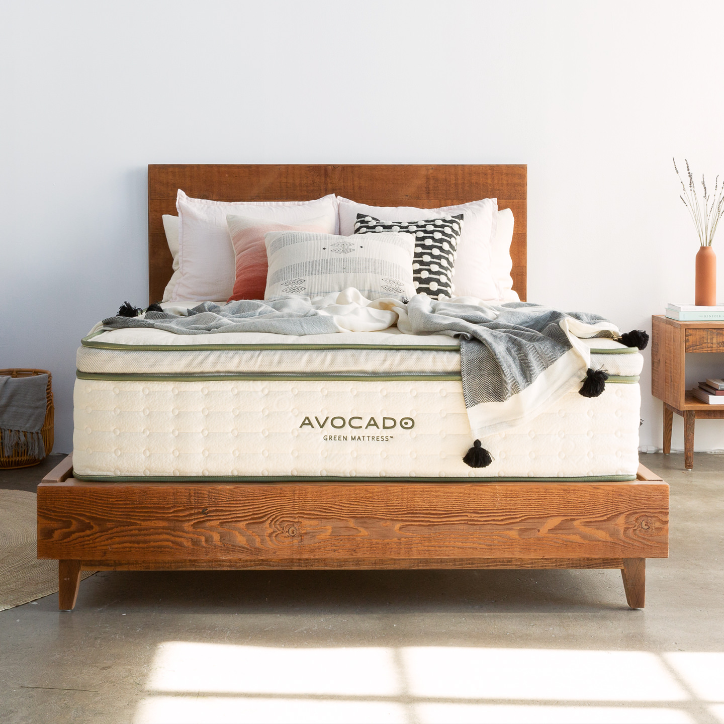 Memorial Day Sale Reclaimed Wood Bed Frame Avocado Mattress