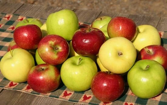 Empire, Golden Delicious, and Fuji Apples