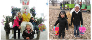 Children and Easter Bunny with easter baskets