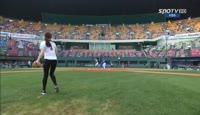 South korean rhythmic gymnast shin soo ji first pitch