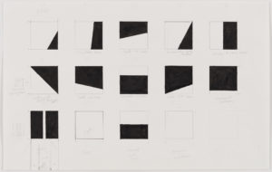 series of square drawings divided into shapes of black and white