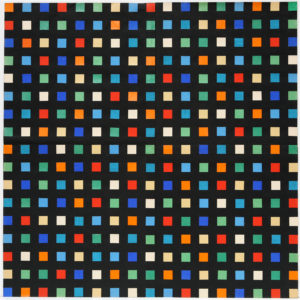 colorful squares on a grid, featuring blue, green, yellow, red and other variations