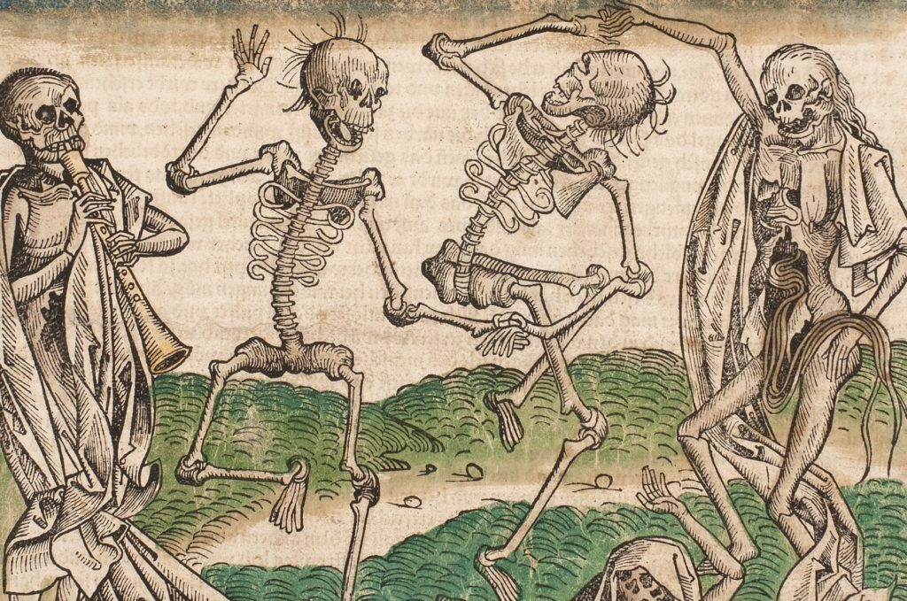the image depicts five skeletons two in the middle dancing while one on the furthest left corner plays a clarinet type of instrument and the one on the furthest right corner holds the hand for a skeleton in the middle of a spin while using its other hand to pull out its own entrails. the fifth skeletons head is all that is visible its in the middle bottom of the image