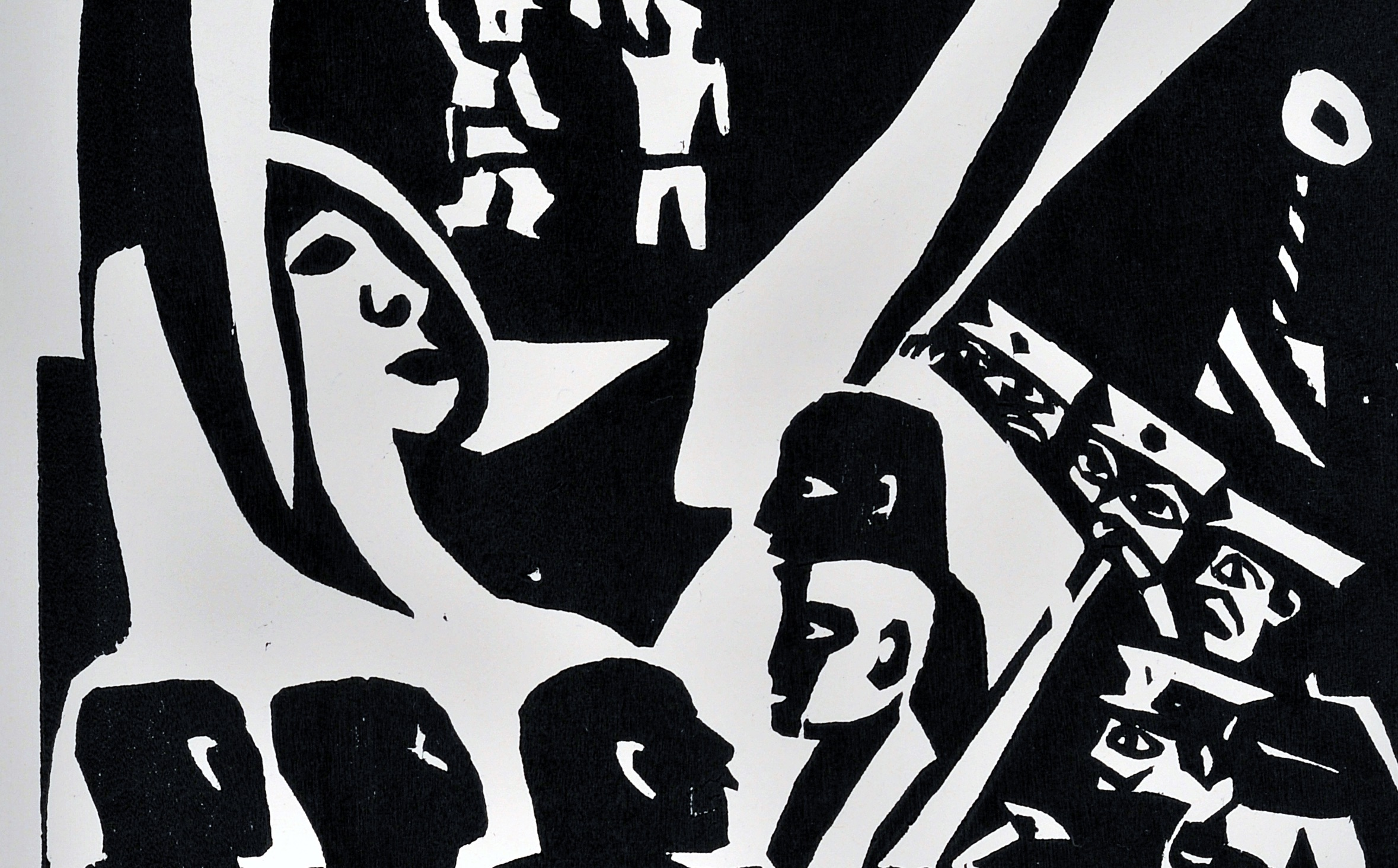 José Chávez Morado La conspiración [Conspiracy], from the portfolio Vida nocturna de la ciudad de México [Mexico City's Nightlife], 1936 (detail) Linocut The Blanton Museum of Art, The University of Texas at Austin University purchase, 1966; Transfer from the Harry Ransom Center, 1982