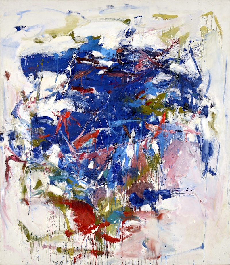 abstract painting with blues, reds, pinks, and greens on white