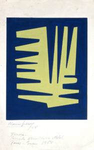 Image of Form, by María Freire, the image is of a solid blue background on paper with light yellow abstract form in the middle the abstract lines look like the teeth from a comb on the left side protruding horizontally and on the right like the teeth of a fork protruding vertically until half way down the middle when they protrude horizontally