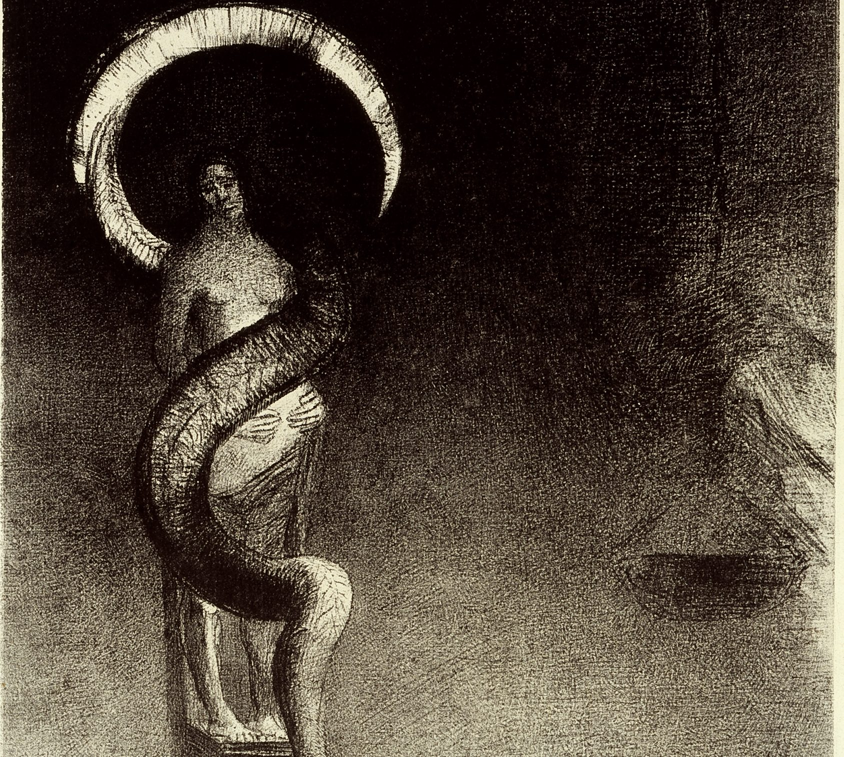 "Image of ""Serpent-Auréole (Serpent-Halo)"" by Odilon Redon a lithograph print featuring a female figure with hands on her stomach being entwined by a serpent that forms a halo above her head"