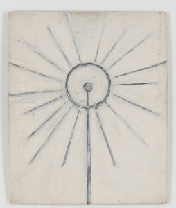 "Ellsworth Kelly, ""Monstrance,"" 1949, oil on plywood, 24 x 19 3/4 inches (61 x 50.2 cm). Blanton Museum of Art, The University of Texas at Austin. Gift of the artist, 2018. ⓒEllsworth Kelly Foundation. Photo Ron Amstutz, courtesy Ellsworth Kelly Studio"