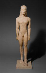 Statue of Kouros, Greek (Attic), Archaic period, circa 590–580 B.C., marble, height without plinth 76 5/8 in. (194.6 cm), Metropolitan Museum of Art, Fletcher Fund, 1932 (32.11.1). Photo courtesy Metropolitan Museum of Art, New York