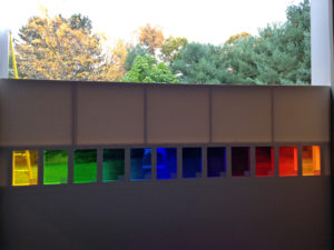 Second set of colored glass from Mayer of Munich in Spencertown, New York, October 2014. Photo courtesy TK