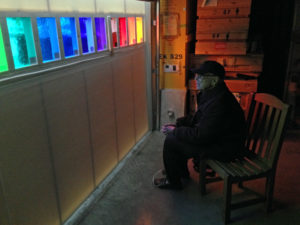 Ellsworth Kelly examing third set of colored glass from Mayer of Munich in Spencertown, New York in December 2014