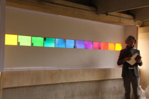 Michael Mayer with fourth set of colored glass in Austin, Texas, April 2015. Photo courtesy TK