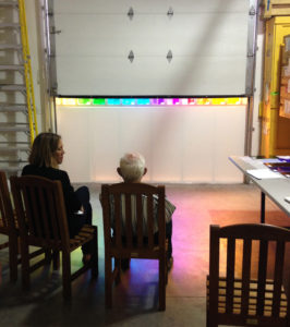 Ellsworth Kelly and Veronica Roberts examining first set of colored glass from Mayer of Munich in Spencertown, New York in July 2014. Photo courtesy TK