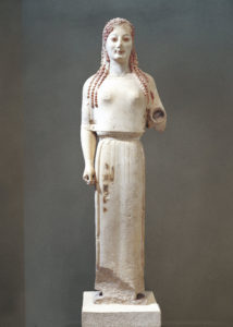 Peplos Kore, from the Acropolis, Athens, Greece, circa. 530 B.C., Marble, height 4 in. (10.16 cm), Acropolis Museum, Athens. Photo By DEA / G. DAGLI ORTI/De Agostini/Getty Images