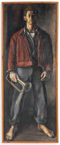 "Ellsworth Kelly, ""Self-Portrait with Bugle,"" 1947, oil on tar paper mounted on Masonite. 65 x 24 7/8 inches (165.1 x 63.2 cm). ©Ellsworth Kelly Foundation. Photo courtesy Ellsworth Kelly Studio"