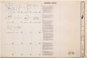"Blueprint of ""Cramer chapel,"" by the architectural firm Oschner Nolan Piramide, 1989"
