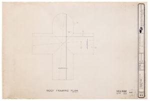 "Blueprint of ""Cramer chapel,"" by the architectural firm Oschner Nolan Piramide, 1989"