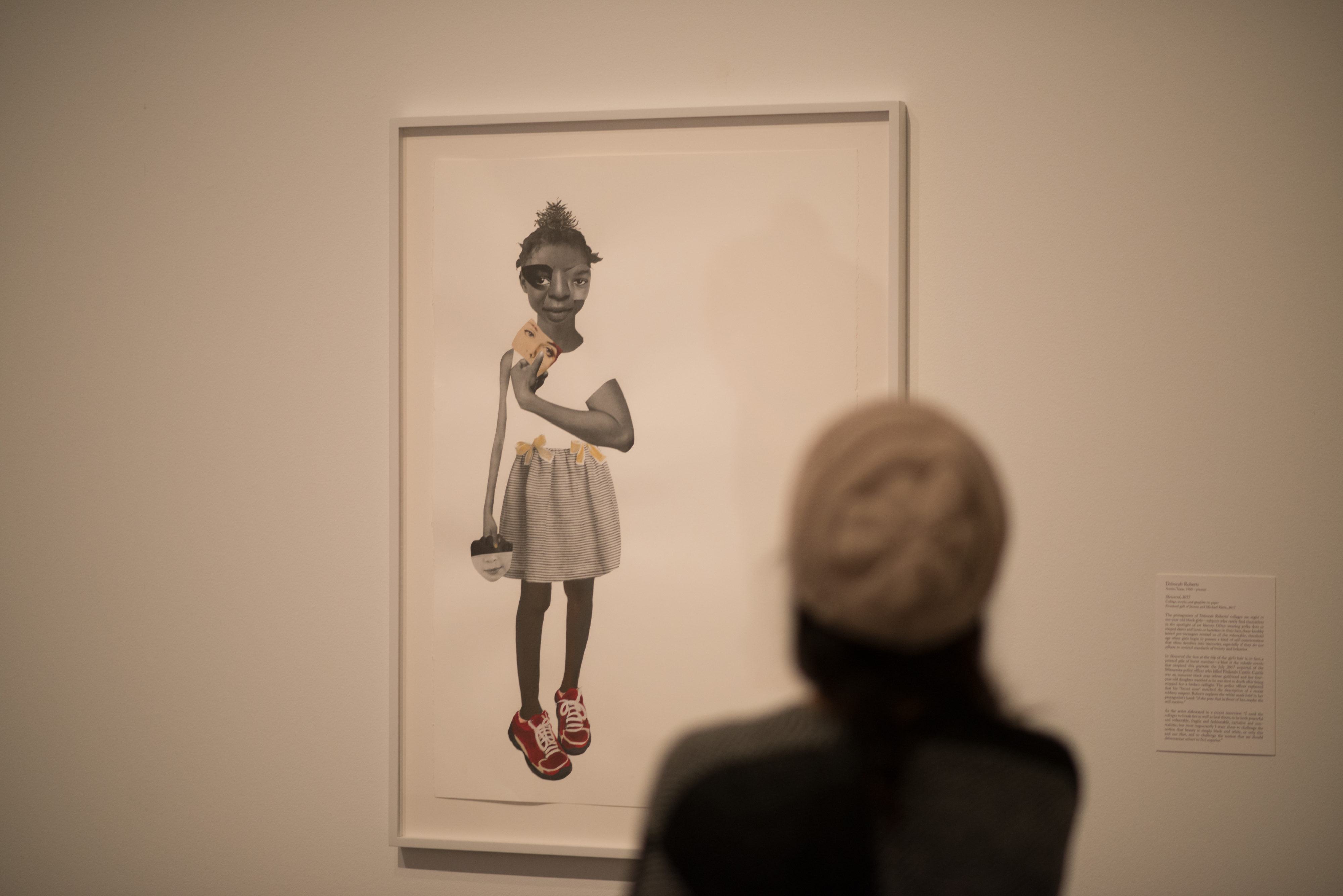 Collage, acrylic, and graphite artwork by artist Deborah Roberts, titled Skewered, depicting a young girl