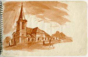 "Ink drawing by Ellsworth Kelly, ""Église, Marly,"" 1944"