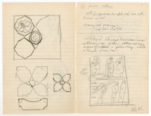 """Ellsworth Kelly, """"Drawings from 12th Century Manuscripts,"""" 1948, graphite on paper, 7 3/4 x 10 inches (19.7 x 25.4 cm). Blanton Museum of Art, The University of Texas at Austin. Gift of the artist, 2018. ⓒEllsworth Kelly Foundation. Photo courtesy Ellsworth Kelly Studio"""