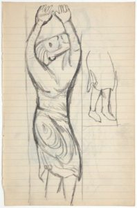 """Ellsworth Kelly, """"Drawings from Romanesque Sculpture,"""" 1948, graphite on paper, 7 3/4 x 5 inches (19.7 x 12.7 cm). Blanton Museum of Art, The University of Texas at Austin. Gift of the artist, 2018. ⓒEllsworth Kelly Foundation. Photo courtesy Ellsworth Kelly Studio"""