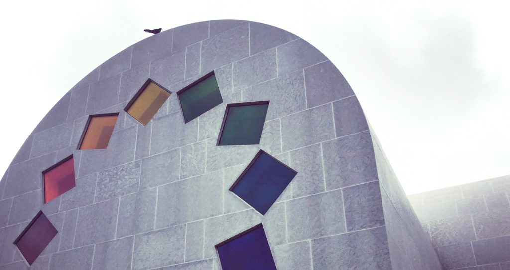 Detailed view of Ellsworth Kelly's Austin western facade